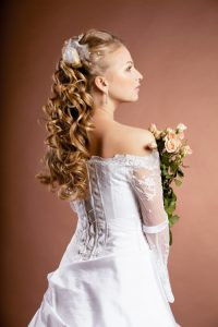 Wedding Hairstyles with long Curly Half Up, Half Down