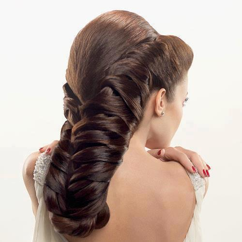 fishtail french braid with weave