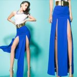 With crop top double slit maxi dress