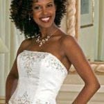 Front straight with loose curls at back African Bridal Hairstyles