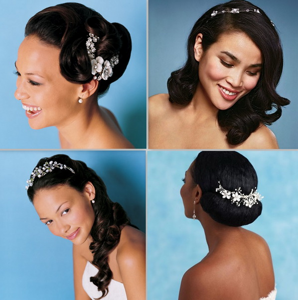 Updo With Gold Ear Piece African Bridal Hairstyles