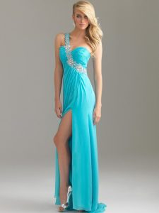 One Shoulder Prom Dresses Beaded with Chiffon