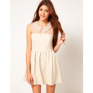 Collar Dress Pleated Pearlescent