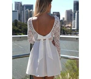 Long Sleeve Skater Dresses with Scoop Bow Open Back