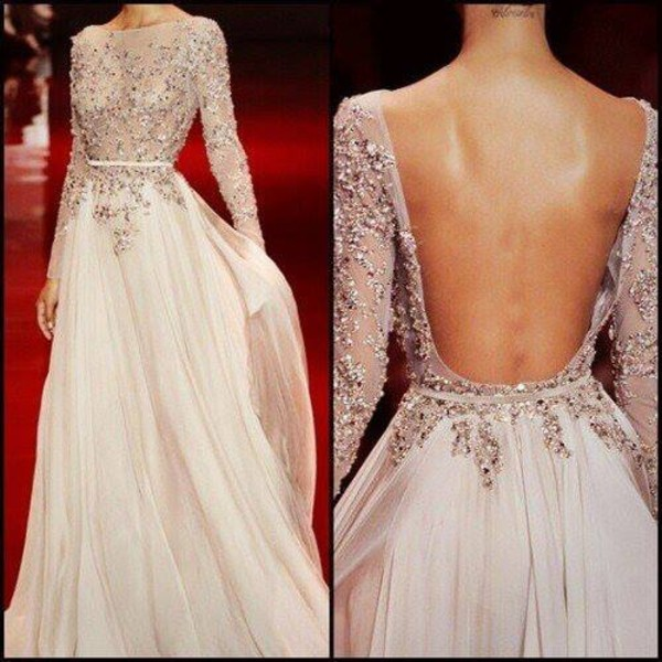 Bridal wedding prom gowns backless chiffon for Prom dress as wedding dress