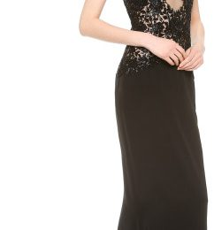 Reem Acra Beaded Cap Sleeve Gown with Lace Back Designs
