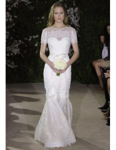 Embroidered Lace Dresses Carolina Herrera gown wedding