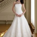 Chapel Train Wedding Dress A-Line Strapless Embroidering
