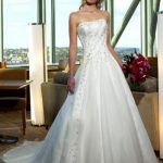 A-Line Strapless Embroidering Chapel Train Wedding Dress