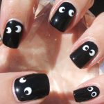 Black Nail Art Designs for Short Nails with white