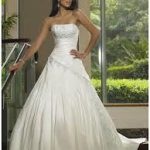 Embroidering Chapel Train Wedding Dress A-Line Strapless