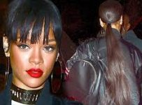 2014 Bob hairstyle of Rihanna with ponytail