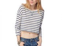 long sleeve crop top with denim