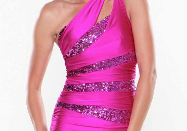 Sequin Short Prom Dress with One Shoulder