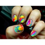 tie dye nails with toothpick