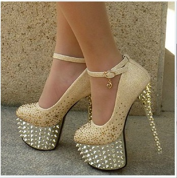 High Heels Gold Prom Shoes