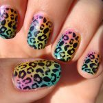 leopard print nails with eyeliner