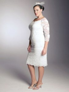tea length lace wedding dresses cap sleeves