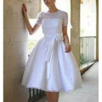 cap sleeve tea length wedding dress