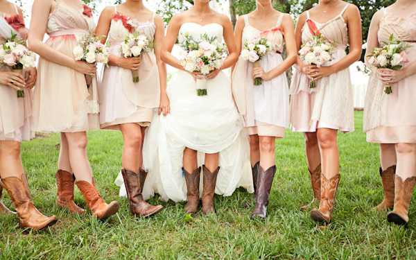 country bridesmaid dresses with boots