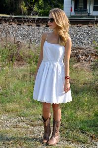 cowboy boots with skirts and dresses