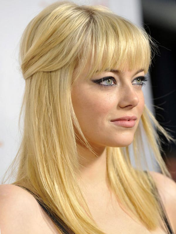 Wedding Bangs Hairstyle With Blonde Hair Color Half Up Down