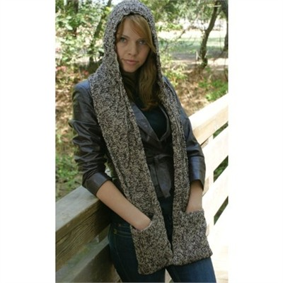 Free Knitting Pattern Hooded Scarf Pockets : knitting cowl scarves - styloss.com