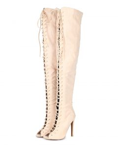 Thigh High Lace Up Open Toe High Heel Boots for Cheap