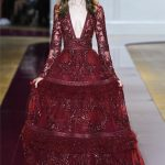 zuhair murad red bridal dress