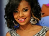 layered curly hairstyles with side swept bangs