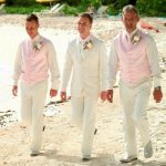 Groomsmen suits with navy bridesmaids