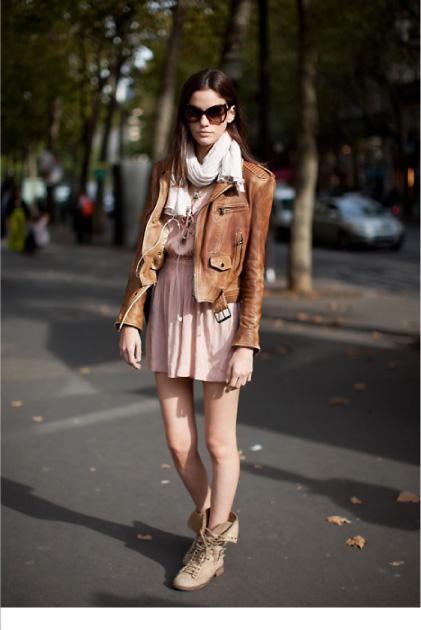 match combat boots with jackets and cocktail dress