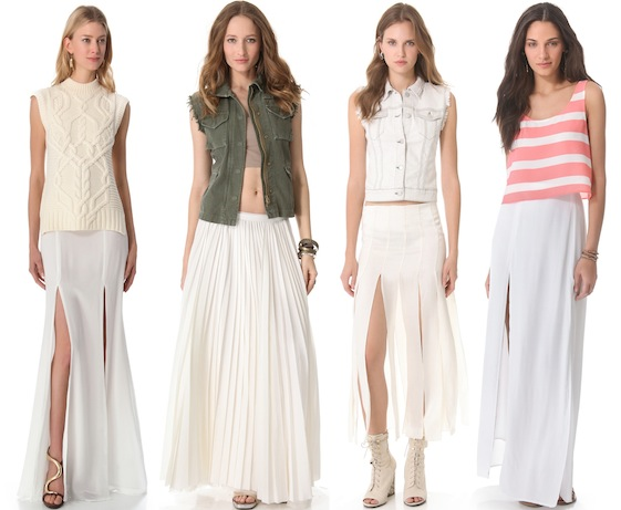 what to wear with a front and double slit maxi skirt