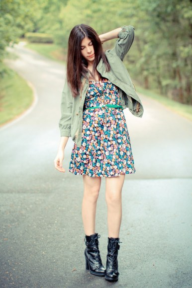 combat boots match with short floral dress