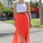 what to wear with a striped maxi skirt
