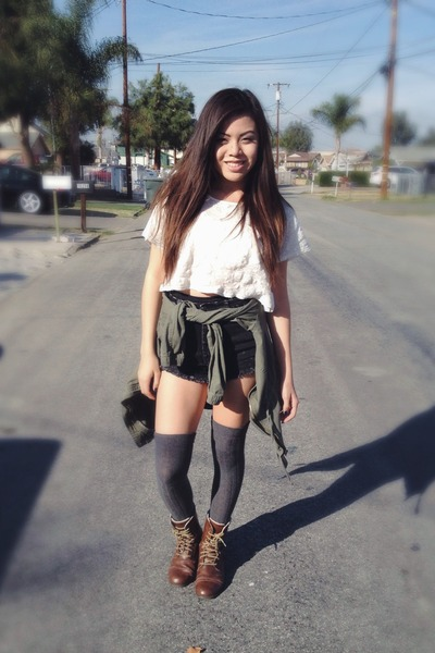 Skirts and Shorts With Brown Combat Boots