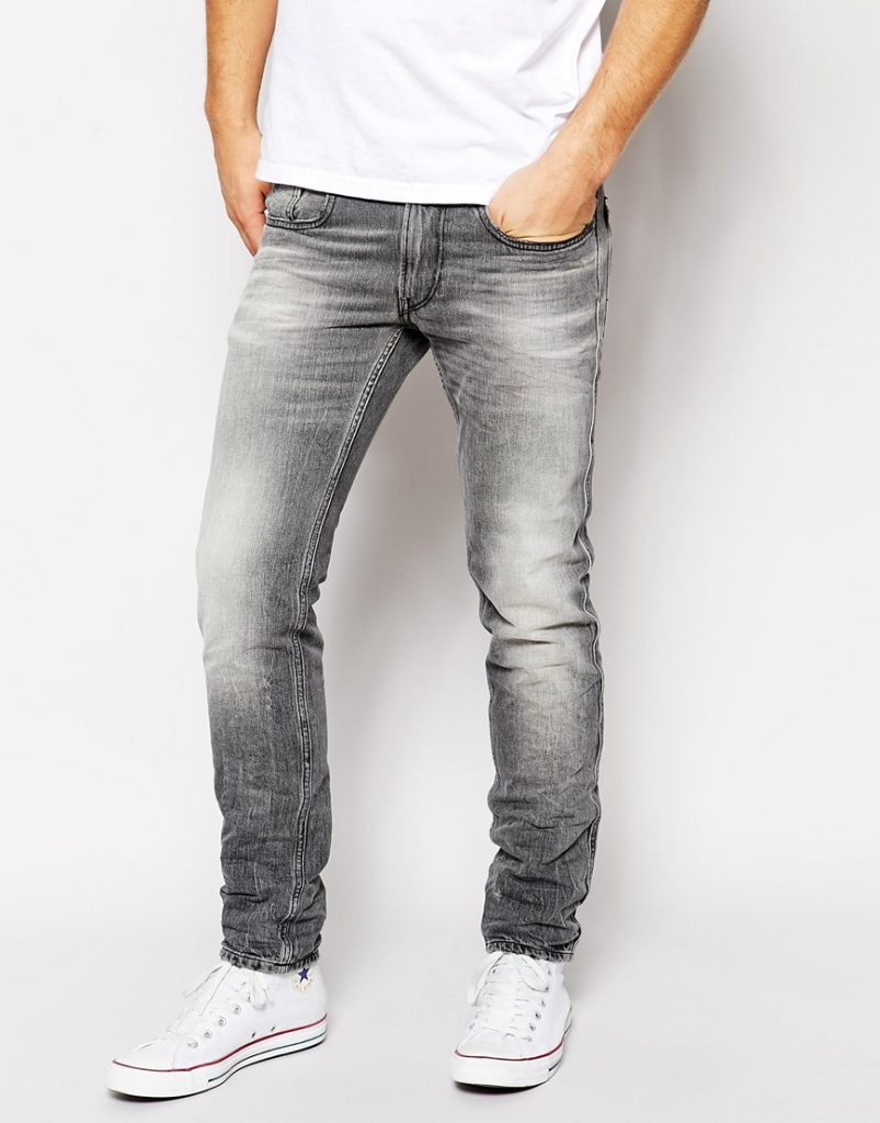 Gray Slim Fit Cotton Jeans